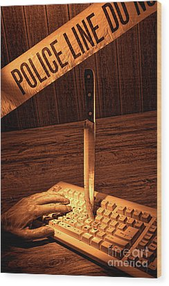 Workplace Violence Wood Print by Olivier Le Queinec