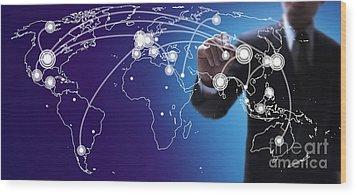 World Economies Map Wood Print by Atiketta Sangasaeng