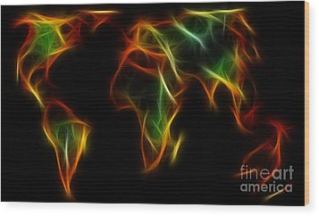 World Impressions - Abstract World Wood Print by Kaye Menner