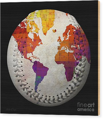 World Map - Rainbow Bliss Baseball Square Wood Print by Andee Design