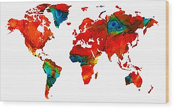 World Map 12 - Colorful Red Map By Sharon Cummings Wood Print by Sharon Cummings