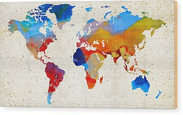 World Map 18 - Colorful Art By Sharon Cummings Wood Print by Sharon Cummings