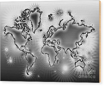 World Map Amuza In Black And White Wood Print by Eleven Corners