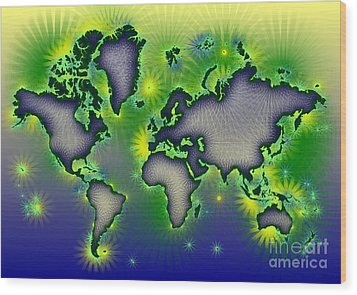 World Map Amuza In Blue Yellow And Green Wood Print by Eleven Corners