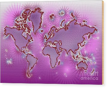 World Map Amuza In Pink And Purple Wood Print by Eleven Corners