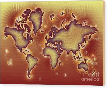 World Map Amuza In Red And Yellow Wood Print by Eleven Corners
