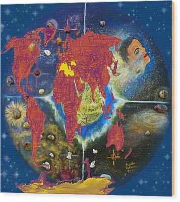 World Map And Barack Obama Stars Wood Print by Augusta Stylianou