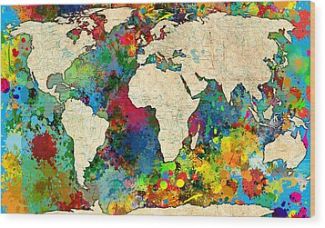 World Map Colorful Wood Print by Gary Grayson
