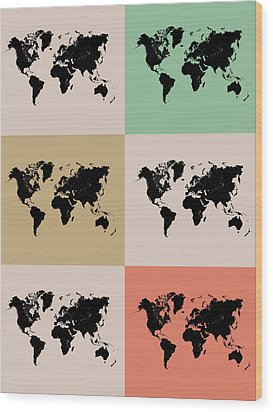 World Map Grid Poster 2 Wood Print by Naxart Studio