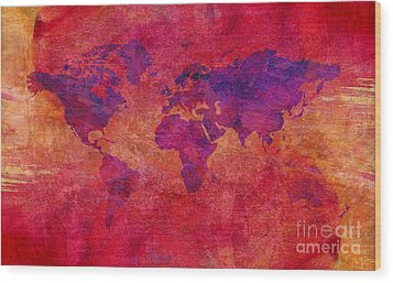 Wood Print featuring the digital art World Map  by Mohamed Elkhamisy