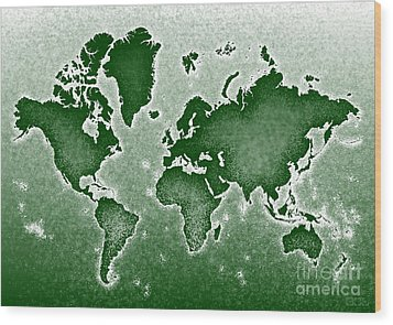 World Map Novo In Green Wood Print by Eleven Corners