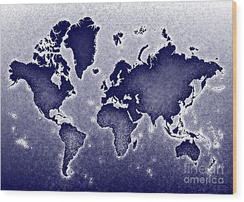 World Map Novo In Blue Wood Print by Eleven Corners