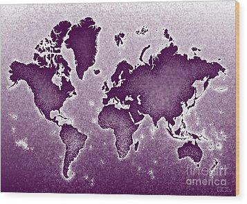 World Map Novo In Purple Wood Print by Eleven Corners