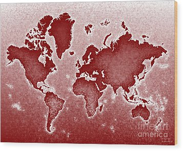 World Map Novo In Red Wood Print by Eleven Corners