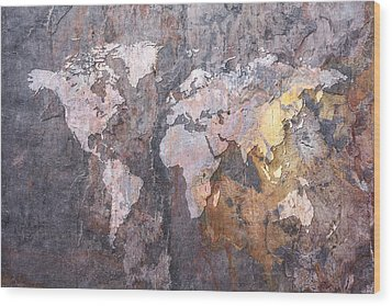 World Map On Stone Background Wood Print by Michael Tompsett