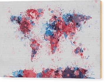 World Map Paint Splashes Wood Print by Michael Tompsett