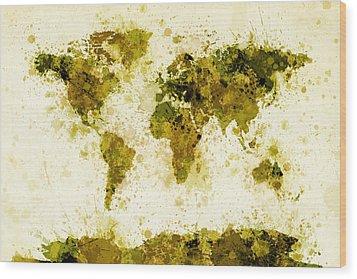 World Map Paint Splashes Yellow Wood Print by Michael Tompsett