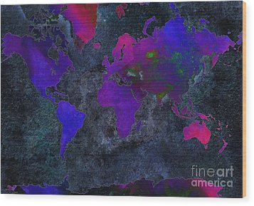 World Map - Purple Flip The Dark Night - Abstract - Digital Painting 2 Wood Print by Andee Design