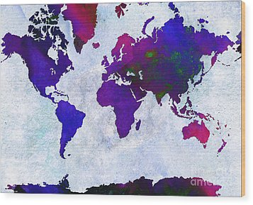 World Map - Purple Flip The Light Of Day - Abstract - Digital Painting 2 Wood Print by Andee Design