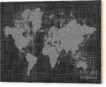 World Map Rettangoli In Black And White Wood Print by Eleven Corners