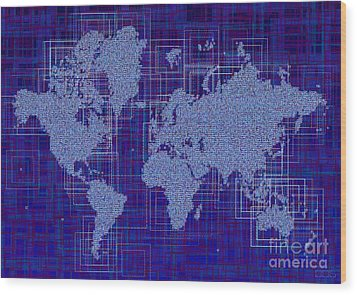 World Map Rettangoli In Blue And White Wood Print by Eleven Corners