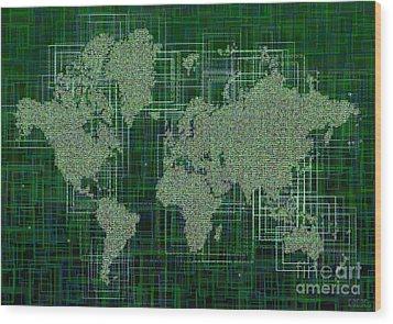 World Map Rettangoli In Green And White Wood Print by Eleven Corners