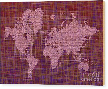 World Map Rettangoli In Pink Red And Purple Wood Print by Eleven Corners