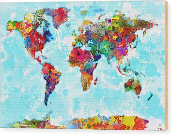 World Map Spattered Paint Wood Print by Gary Grayson