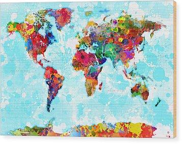 World Map Splattered Wood Print by Gary Grayson