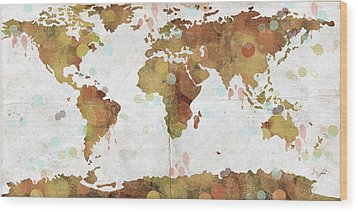 World Map Watercolor 3 Wood Print by Paulette B Wright