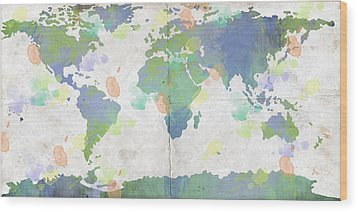 World Map Watercolor 4 Wood Print by Paulette B Wright