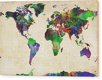 World Map Watercolor Wood Print by Gary Grayson
