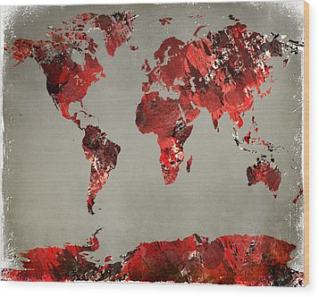 World Map - Watercolor Red-black-gray Wood Print by Paulette B Wright