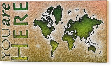 World Map You Are Here Novo In Green And Orange Wood Print by Eleven Corners