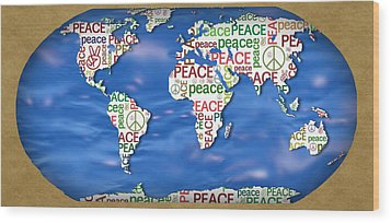 World Peace Wood Print by Chris Goulette
