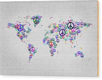 World Peace Map Wood Print by Aged Pixel