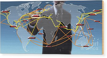 World Shipping Routes Map Wood Print by Atiketta Sangasaeng