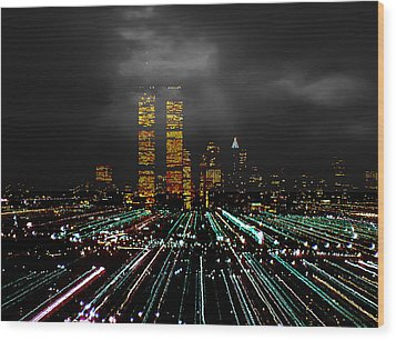 World Trade Center At Night 1980 Wood Print
