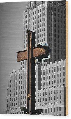 World Trade Center Cross New York Wood Print by Mathew Lodge