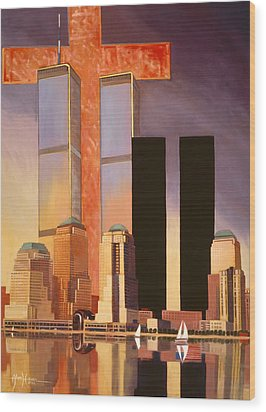 Wood Print featuring the painting World Trade Center Memorial by Art James West