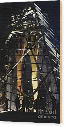 World Trade Center Museum At Night Wood Print by Lilliana Mendez