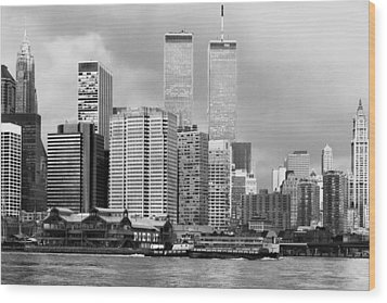 New York City - World Trade Center - Vintage Wood Print by Dave Beckerman