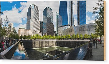 Wood Print featuring the photograph World Trade Center - South Memorial Pool by Chris McKenna