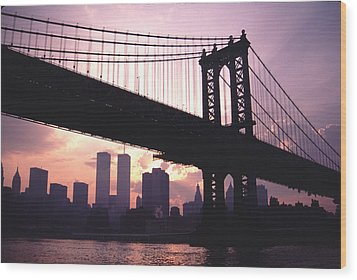 World Trade Towers Manhattan Bridge At Sunset Nyc Wood Print