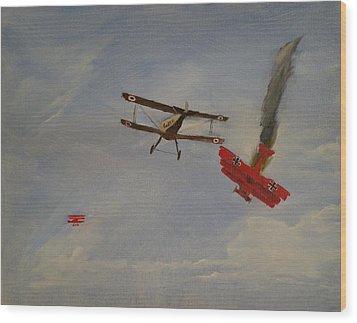 World War I Dogfight 3 Planes In Battle Wood Print by Carl S Kralich