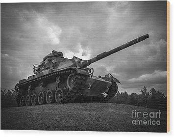 World War II Tank Black And White Wood Print