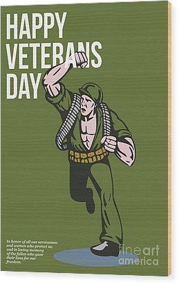 World War Two Veterans Day Soldier Card Wood Print by Aloysius Patrimonio