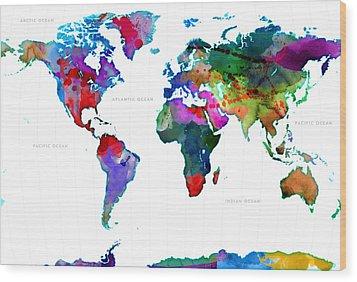 World Watercolor Map #3 Wood Print