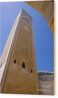 Wood Print featuring the photograph Worlds Tallest Minaret At 210m Hassan II Mosque Grand Mosque Sour Jdid Casablanca Morocco by Ralph A  Ledergerber-Photography