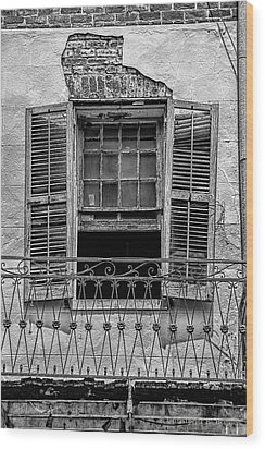 Worn Window - Bw Wood Print by Christopher Holmes